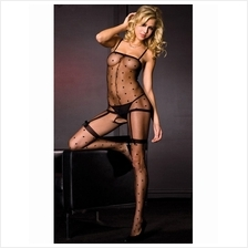 Sexy Black Bodystocking Open Crotch & Garter Belts Stockings Design