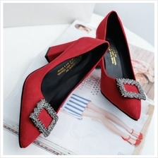 MT010939 Square Rhinestones Buckle Thick Heel Pointed Suede Wedding Shoes