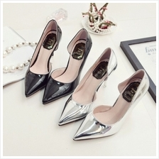 MT011734 Fashion Nightclub Patent Leather Thin Heels Pointed Shoe