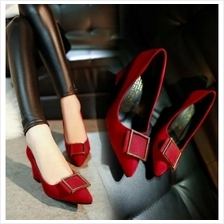 MT010937 Decorative Metal Belt Buckle Pointed Thick High-heeled Wedding Shoes