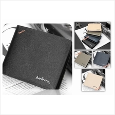Men Faux Leather Short Bifold Wallet with Box