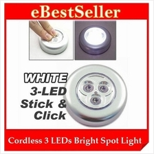 Stick N Click Cordless Instant Mini 3 LEDs Bulb Bright Spot Light