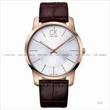 Calvin Klein K2G21629 Men's City Classic 2-hand Leather Strap Silver
