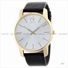 Calvin Klein K2G21520 Men's City Classic 2-hand Leather Strap Silver
