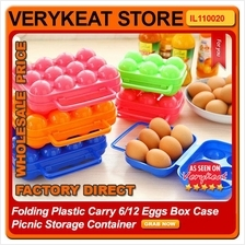 Folding Plastic Carry 6/12 Eggs Box Case Picnic Storage Container
