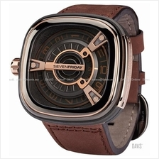 SEVENFRIDAY M2-2 Automatic Rotating Disc Leather Strap Grey Brown