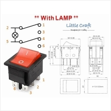 ON-OFF-ON Power Switch With Red Lamp AC 250V 16A