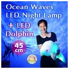 LED Ocean Daren Waves Night Lamp with LED Dolphin Toy Doll Pillow 45cm