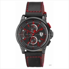 SCUDERIA FERRARI 0830273 Men's Formula Italia S Chrono Leather Black