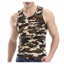 Men Micro Fiber Slim Fit Army Style Camouflage Sleeveless Shirt Top