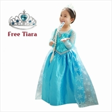 Frozen Elsa Girl Blue Silver Trim Kids Dress Costume *FREE TIARA*