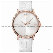 Calvin Klein K2Y2X6K6 Men's Accent Leather Strap White Rose Gold