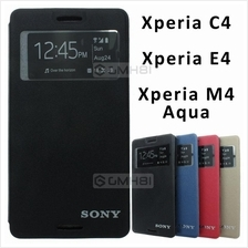 Sony Xperia C4 M4 Aqua Ultra Slim Window Wallet Flip Cover Case