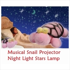 Cartoon Musical Snail Projector Night Light Stars Lamp - Pink Big Size