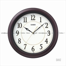 CASIO IQ-60-5 analogue wall clock simple easy reader white brown