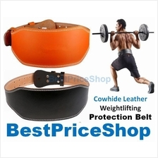 Gym Grade Cowhide Leather Weightlifting Back Support Protection Belt