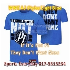 BAJU WWE WWF T Shirt (AJ P1 Light Blue) WRESTLING GUSTI