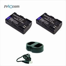 Proocam Canon LP-E6 Battery (2pcs) With Viloso Dual Battery Charger