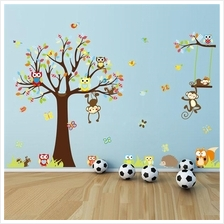 Monkey With Owl Vinyl Wall Stickers Removable Decorative Decals