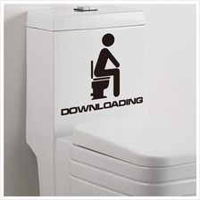 Funny Toilet Downloading Vinyl Wall Stickers Removable Decorative
