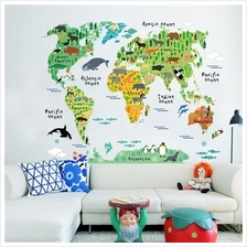 Colorful Animals World Map Wall Stickers Decals Creative Background