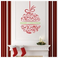 Merry Christmas Vinyl Wall Stickers Removable Decorative Decals