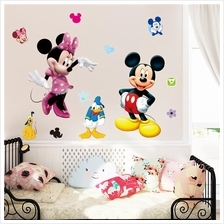 Mickey Minnie Mouse Cartoon Wall Stickers For Kids Room Decorations