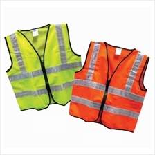 Safety Vest With Four Visible Reflective Line Yellow  & Orange Zip Type