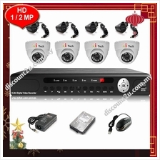 Qi Tech CCTV 4-CH HD DVR Recorder with Infra Red Dome Camera (W1-4D0L)