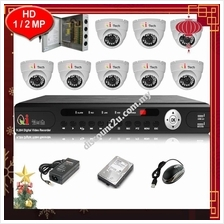 CCTV 8-CH HD DVR Recorder with Infra Red Dome Camera Package