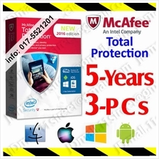 McAfee Total Protection  2017 5YEAR 3PC Security AntiVirus anti virus