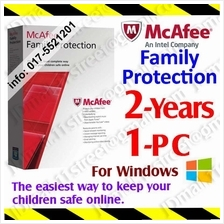 McAfee Family Protection 2017 2YEAR 1PCs AntiVirus anti virus security
