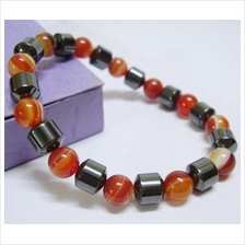 Red Agate Carnelian Hematite Health Therapy Magnetic Stretch Bracelet.