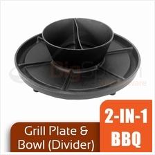 2-In-1 BBQ Plate and Bowl Cast Iron with Divider