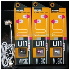 U11 Wired In-Ear Stereo Headphone Earphone 3.5mm Apple Android