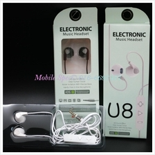 U8 Wired In-Ear Headphone Earphone Mic 3.5mm Apple Android