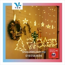 Christmas Tree Curtain String Light Backdrop Indoor Room Decoration