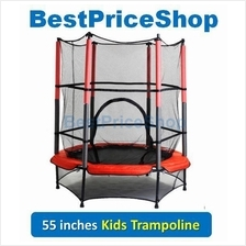 High Grade 55 Inches Kids Trampoline with Safety Net Fitness Indoor