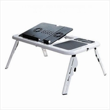 E-Table Portable Foldable Laptop Table with Cooling System(White)
