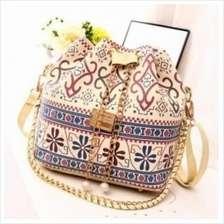 MT008905 Bucket Canvas Printing National Wind Pearl Chain Shoulder Messenger B