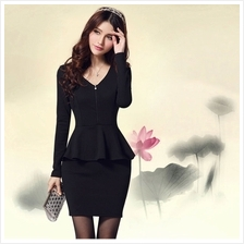 Fashion Zip Design Peplum Dress