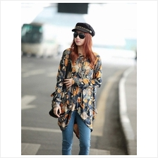 Trendy Coins Design Batwing Long Sleeve Top