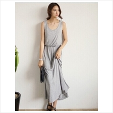 Fashion Round Neck Basic Sleeveless Long Maxi Dress