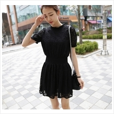 Fashion Lace Design Short Sleeve Mini Dress