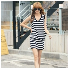 Fashion Stripes Design V Neck Lady Mini Dress