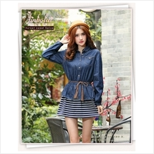 Fashion Two-Piece Joint Denim Design Lady Stripes Dress