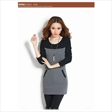 Fashion Korean 3/4 Sleeves Two-Tone Lady Mini Dress