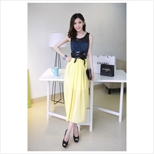 Fashion Denim Design Chiffon Long Dress