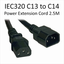 Longwell C14 to C13 PC Server PDU Power Extension Cord Cable 2.5 Meter