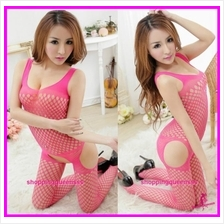 Fishnet Body Stocking Rose Red Hosiery Sling Open Crotch Sexy Lingerie